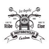 Emblema del vintage del vector de la vista delantera de la motocicleta libre illustration
