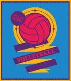 Emblema del voleibol con la cinta Se divierte el logotipo Foto de archivo libre de regalías