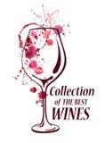 Emblema dell'acquerello con il vetro di vino Immagini Stock Libere da Diritti