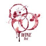 Emblema dell'acquerello con le macchie del vino Immagine Stock