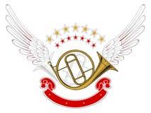 Emblema dell'ala di musica Immagini Stock Libere da Diritti