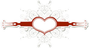 Emblema dell'annata con cuore Fotografia Stock