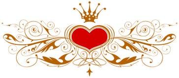 Emblema dell'annata con cuore Immagine Stock
