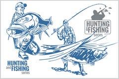 Emblema dell'annata di pesca e di caccia Immagini Stock