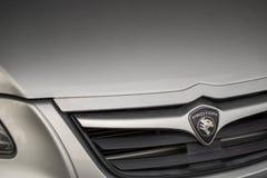 Emblema dell'automobile di Proton, case automobilistiche famose del malese Fotografie Stock