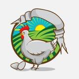 Emblema dell'azienda agricola di pollo con il retro nastro di stile per il vostro testo Illustrazione di vettore Immagine Stock Libera da Diritti