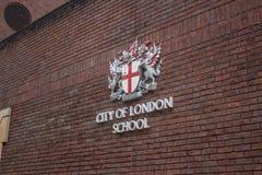 Emblema della città della scuola di Londra Fotografie Stock Libere da Diritti
