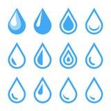 Emblema della goccia di acqua Modello di logo Insieme dell'icona Vettore Immagine Stock