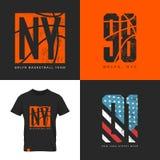 Emblema della maglietta di usura della via di New York Fotografie Stock