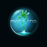 Emblema della marijuana, illustrazione di vettore Immagini Stock Libere da Diritti