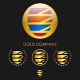 Emblema della sfera dell'oro Immagini Stock Libere da Diritti