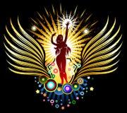 Emblema della siluetta della ragazza di Dancing Fotografia Stock