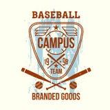 Emblema della squadra di baseball dell'istituto universitario Fotografia Stock Libera da Diritti