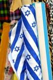 Emblema della stella di Davide su un tessuto a Tel Aviv, Israele Immagini Stock