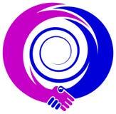 Emblema della stretta di mano Immagini Stock Libere da Diritti