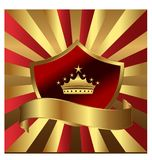 Emblema dello schermo dell'oro con il vettore della corona di re illustrazione di stock