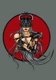 Emblema demoníaco da mulher da fantasia ilustração do vetor