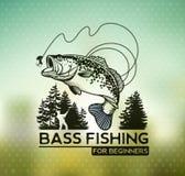 Emblema di Bass Fishing sul fondo della sfuocatura Illustrazione di vettore Fotografia Stock