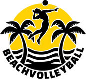 Emblema di beach volley Immagine Stock
