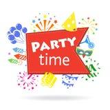 Emblema di celebrazione di festa del segno di tempo del partito illustrazione di stock
