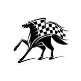 Emblema di corsa di cavalli con la bandiera a quadretti Fotografia Stock
