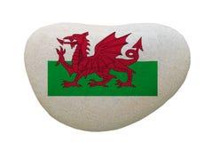Emblema di Galles dipinto su una pietra del messaggio Fotografia Stock Libera da Diritti