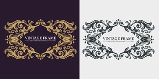 Emblema di lusso d'annata Linea elegante calligrafica progettazione di logo di arte Reticolo floreale decorativo Struttura grazio illustrazione vettoriale