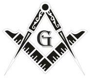 Emblema di massoneria - il simbolo massonico della bussola e del quadrato Fotografie Stock