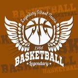 Emblema di pallacanestro per le magliette, manifesti, insegne illustrazione vettoriale