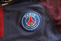 Emblema di Parigi St Germain sul jersey Fotografia Stock