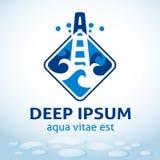 Emblema di perforazione dell'acqua, modello di vettore Fotografie Stock Libere da Diritti
