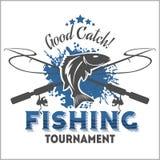 Emblema di pesca, distintivo ed elementi di progettazione Fotografie Stock Libere da Diritti