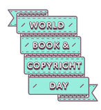Emblema di saluto di giorno di libro e di Copyright di mondo illustrazione di stock