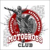 Emblema di sport di motocross illustrazione vettoriale