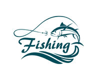 Emblema di sport di pesca illustrazione vettoriale
