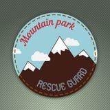 Emblema di tema di aria aperta della montagna Immagini Stock Libere da Diritti