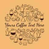 Emblema di tempo del caffè delle icone del caffè Fotografie Stock Libere da Diritti
