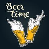 Emblema di tempo della birra Fotografia Stock Libera da Diritti
