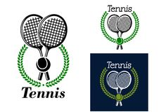 Emblema di tennis con la corona dell'alloro Fotografia Stock Libera da Diritti