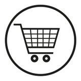Emblema di un carrello del supermercato in un cerchio su un fondo bianco Immagini Stock