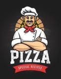 Emblema di vettore della pizza Fotografie Stock Libere da Diritti