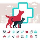 Emblema di vettore ed insieme veterinari dell'icona degli animali domestici Fotografie Stock Libere da Diritti