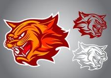 Emblema di vettore di logo di rosso fuoco del gatto Fotografia Stock Libera da Diritti