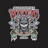 Emblema di Viking su fondo scuro illustrazione di stock