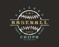 Emblema do campeonato da faculdade do basebol Projeto gráfico para t-sh Imagens de Stock