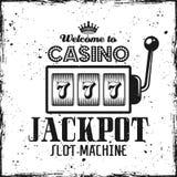 Emblema do casino com o jackpot do slot machine e do texto fotos de stock royalty free