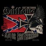 Emblema do clube da motocicleta, cruz do ferro, um crânio humano em um capacete alemão e a bandeira confederada tornando-se ilustração stock