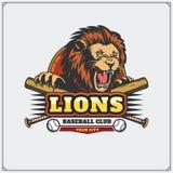 Emblema do clube de basebol com cabeça do leão Imagem de Stock Royalty Free