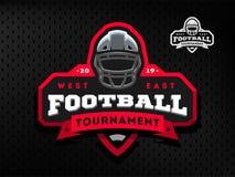 Emblema do competiam do futebol americano, logotipo em um fundo escuro ilustração stock