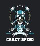 Emblema do crânio do motociclista Fotografia de Stock